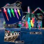 LightShow LED Starter Kit (Multi-color or White) w/ Icicle Lights, Mini Lights, and Light Clips