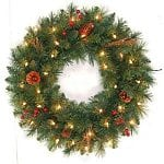 "24"" Pre-Lit Hawkins Pine Wreath with Clear Lights"