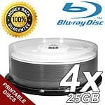 Blaze 4X White Inkjet Printable Single Layer Write Once 25GB Blu-Ray Blank Disc / 100pk + 12MM Single Blu-Ray Premium DVD Cases with Blu-ray Logo / 100pk $79.80 ac / fs @ s4t