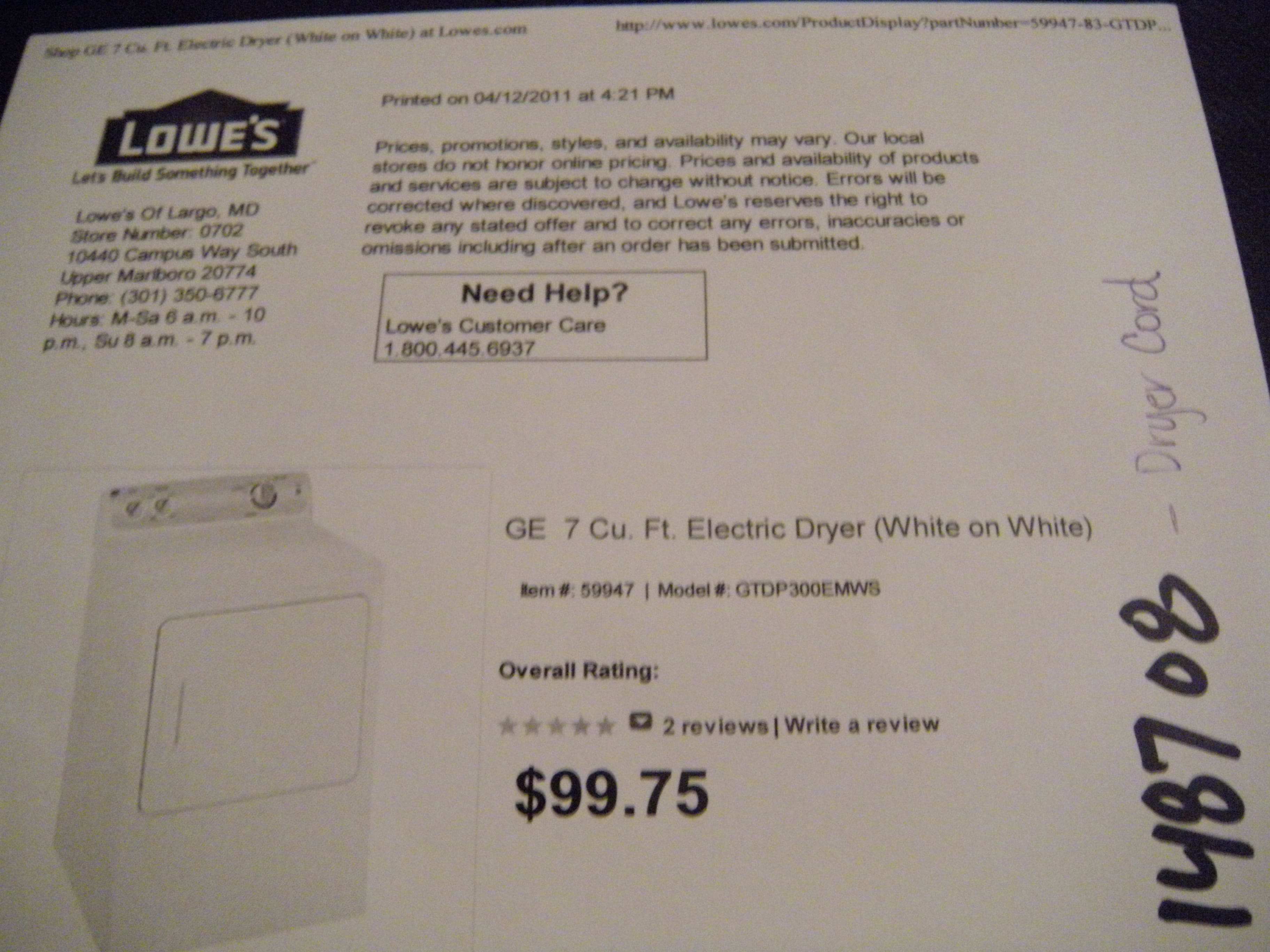 ge electric dryer very cheap lowes ymmv
