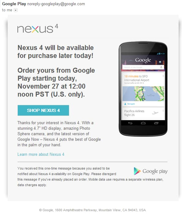 Nexus 4 Available for Purchase Google Play Store U.S. Only