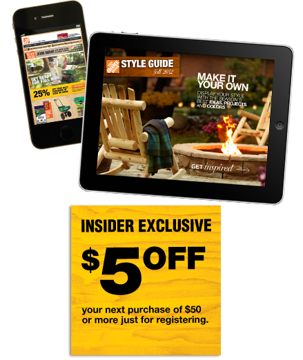 Home Depot $5 off $50 w/ Newsletter signup
