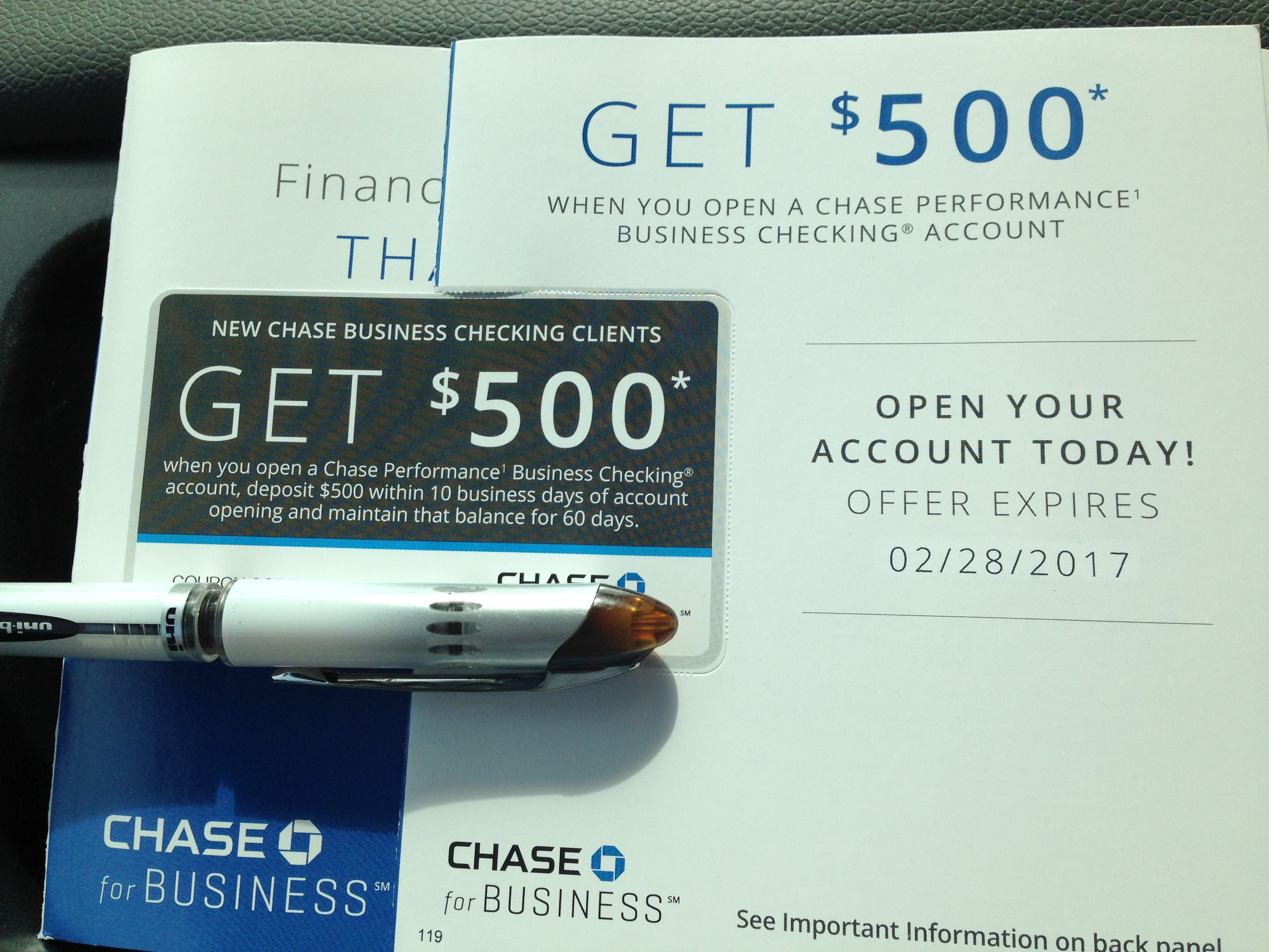 Chase Business checking $500 free when depositing of $500
