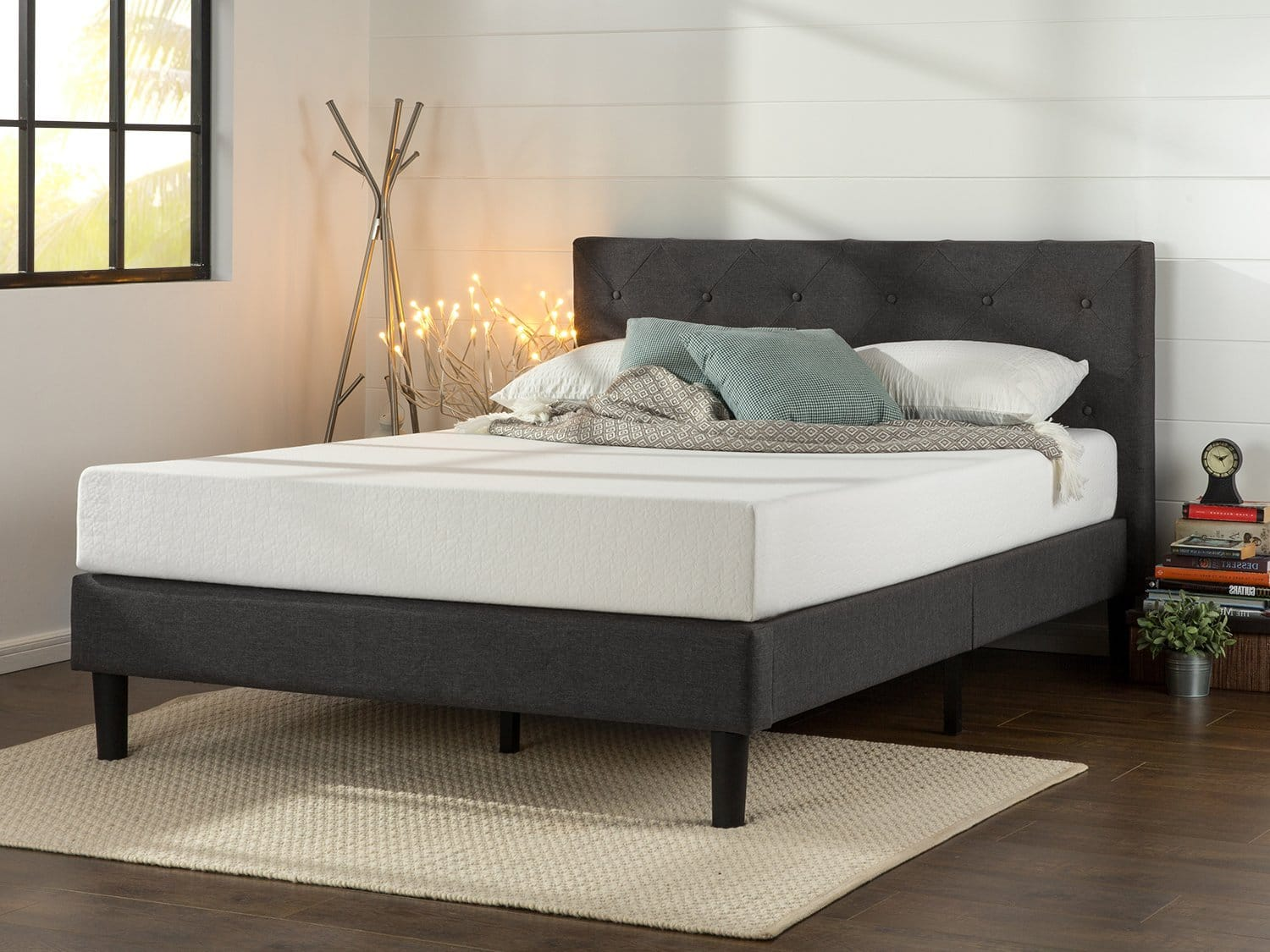 Good Zinus Upholstered Diamond Stitched Platform Bed Queen Slickdeals net