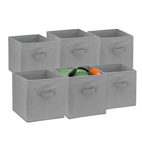 foldable cube storage bins 6 pack these decorative fabric storage cubes are collapsible and great organizer for shelf closet or underbed