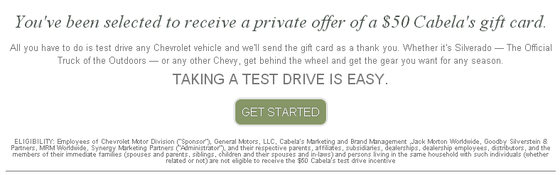 Take Test Drive at Local Chevy Dealer = FREE $50 Cabela's Gift Card (follow post info to get form)