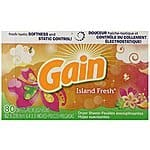 Gain With Freshlock Island Fresh Dryer Sheets, 80 Count (Pack of 3) - $8.02 w/S&S and coupon, (As Low As - $7.12)