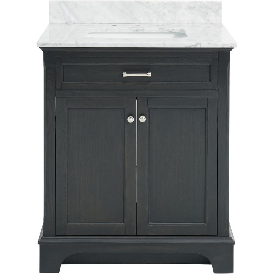 Marvelous Lowe us allen roth Roveland Black Oak in Undermount Single Sink Bathroom Vanity with Natural Marble Top Slickdeals net