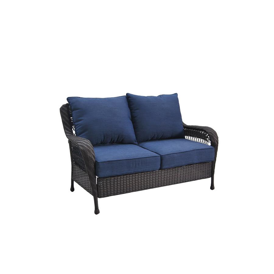 Trend Lowe us allen roth Glenlee Brown Wicker Seat Patio Loveseat with Blue Cushions YMMV Slickdeals net