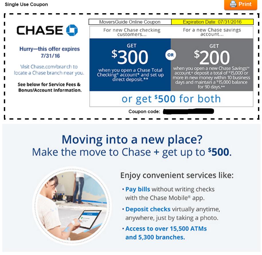 Chase checking coupon code