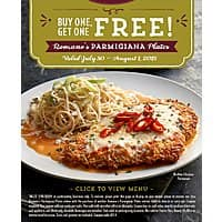 Macaroni Grill Deal: Macaroni Grill - Buy One Parmigiana Entree, Get One Free - July 30 - August 1, 2015