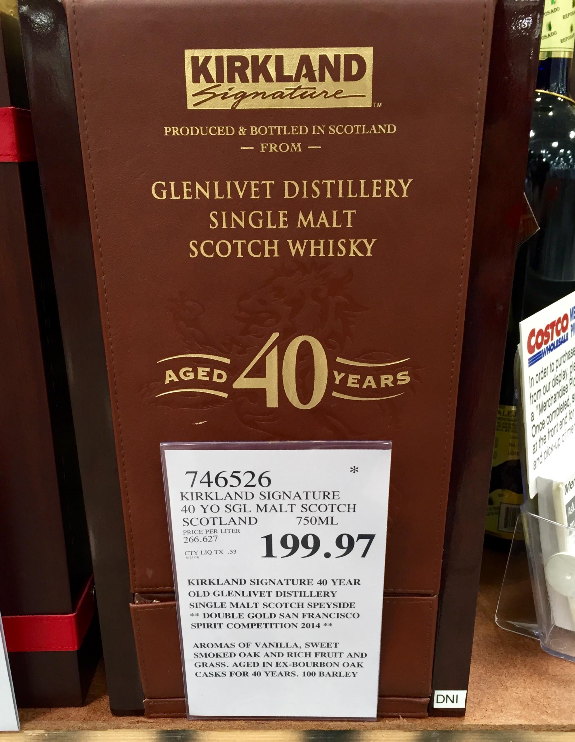 kirkland signature glenlivet 40 year old single malt scotch