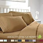 Clara Clark 4pc Luxury Bed Sheet Set - King Size, Camel Yellow Gold 6 sets for $53.94 + FS AC (Or Full size for less) @ Amazon