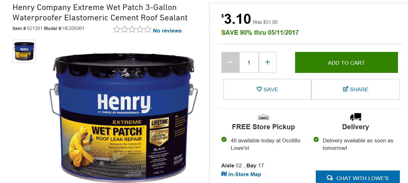 Lowes Extreme YMMV: Henry Company Extreme Wet Patch 3.3 Gallon Waterproofer  Elastomeric Cement Roof Sealant #209 (as Low As $3.10, But Mostly $31 Orig  $124) ...