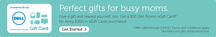 Dell Gift Card Promo again $50 Promo eGift Card for every $300 e-GiftCard purchased