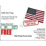 USA Car Flag Free AC @Frys (in-store w/emailed code)
