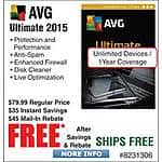 AVG Ultimate 2015-Unlimited/1 Year Free after $45 Rebate @Frys