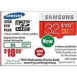 Samsung 32GB EVO Plus MB-MC32DA/AM micro SDHC Flash Card $19@Frys (w/emailed code)