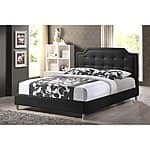 Baxton Studio Carlotta Black Modern Bed with Upholstered Headboard $261.59 + ship @