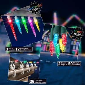 LightShow LED Starter Kit (Multi-color or White) w/ Icicle Lights, Mini Lights, and Light Clips $29.50 + Free Store Pickup