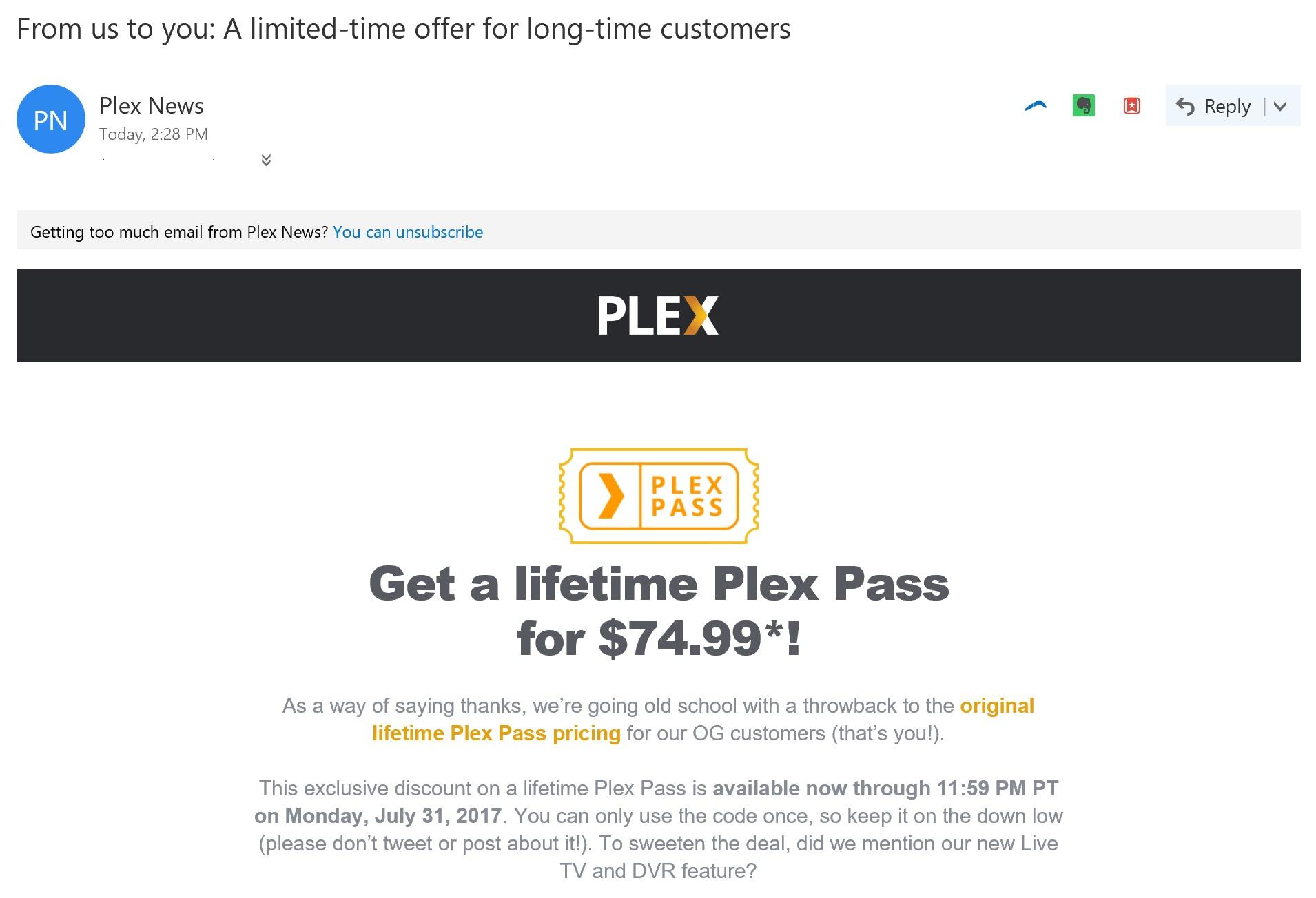 PSA - PlexPass Lifetime $74.99 for select customers (YMMV ...