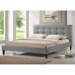 Quincy Grey Linen Platform Bed $299.07 + ship @overstock.com
