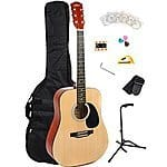 41 Inch Full Size Dreadnought 6 Steel Strings Acoustic Guitar Kit/Bundle $89 + FS @ Amazon