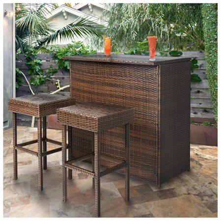 3 piece wicker bar set patio outdoor backyard table w 2 stools rattan garden furniture for 14999 free shipping slickdealsnet