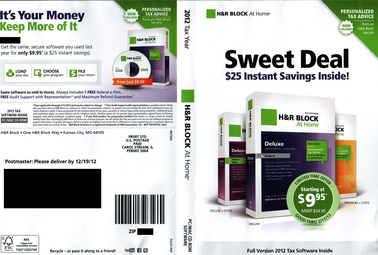 H&R Block At Home Deluxe+State eFile FREE *it's back*, Premium+State Program $19.95