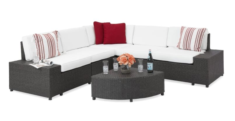 Simple Patio Furniture Piece Wicker Sectional Sofa Set W Corner Coffee Table Gray Slickdeals net