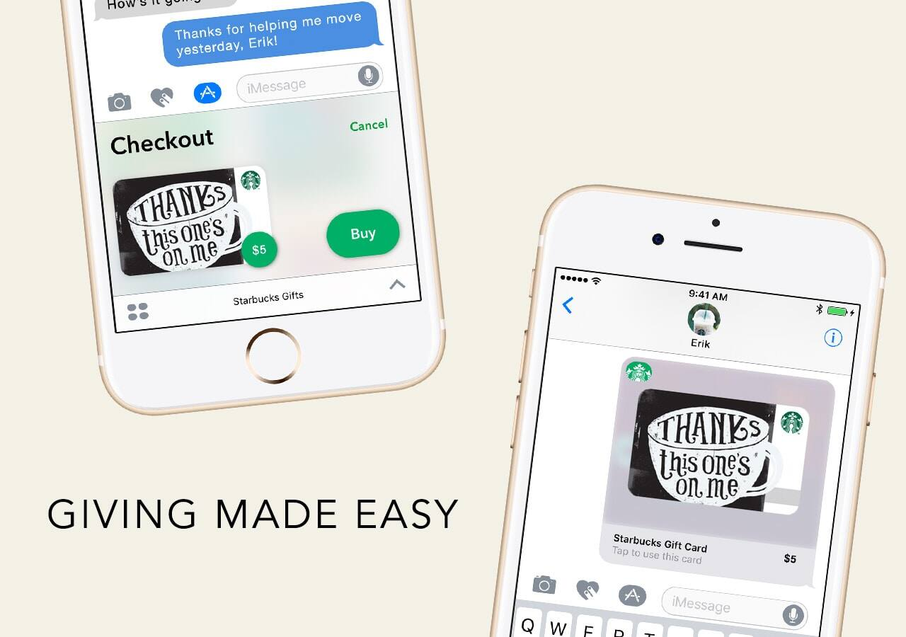 Starbucks App: Send Starbucks $5 eGift Card via iMessage, Get ...