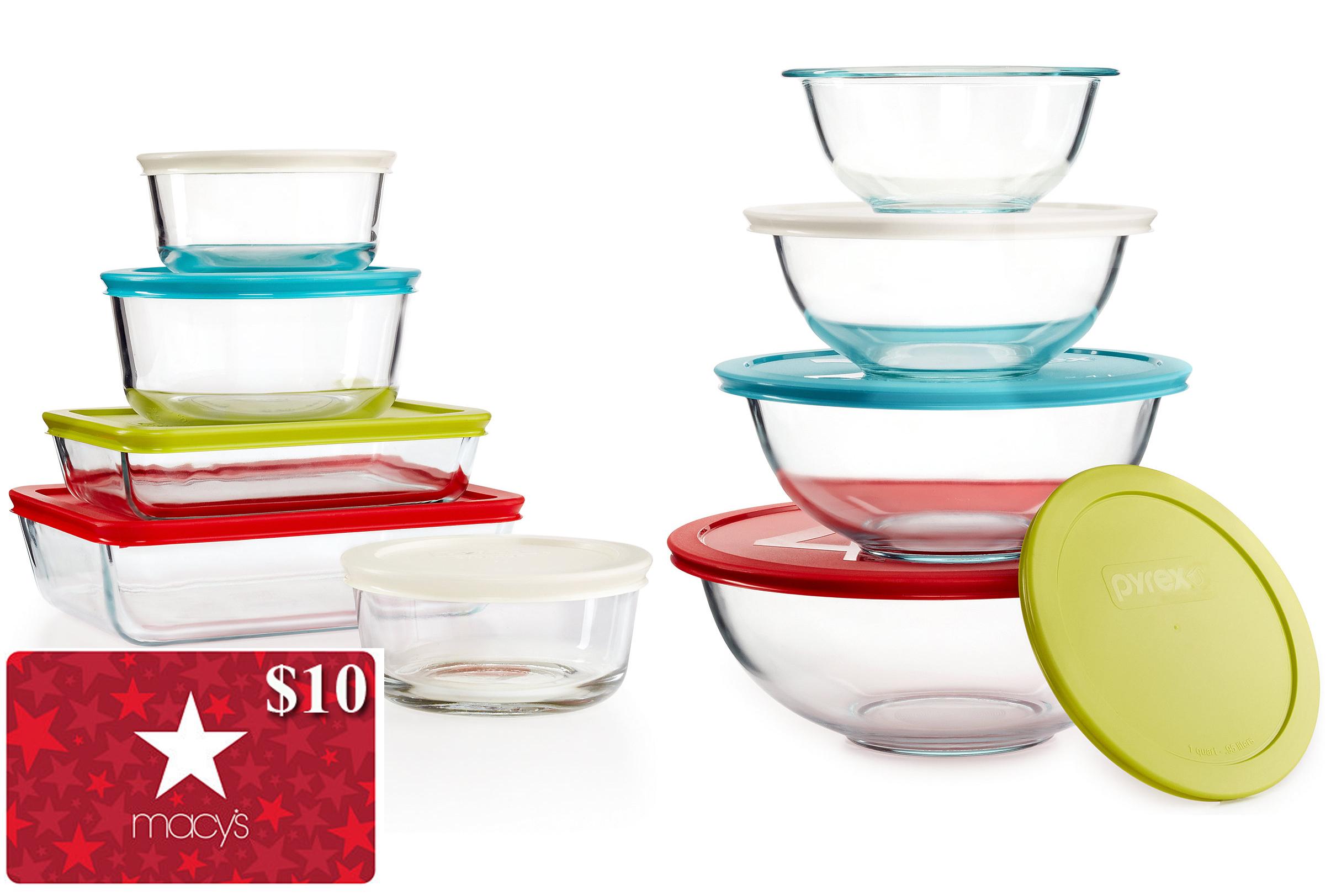 10 Pc Pyrex Set + 8 Pc Bowl Set + $10 Macys Egift Card   Slickdeals.net