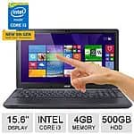 "Acer Aspire E 15.6"" Touch Laptop w/ McAfee 2015 Multi-Access: i3 5005U, 500GB  $260 after $100 Rebate + S/H"