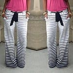 $ 7.95 - Womens Casual Low-Waisted Drawstring Striped Loose-Fitting Pants