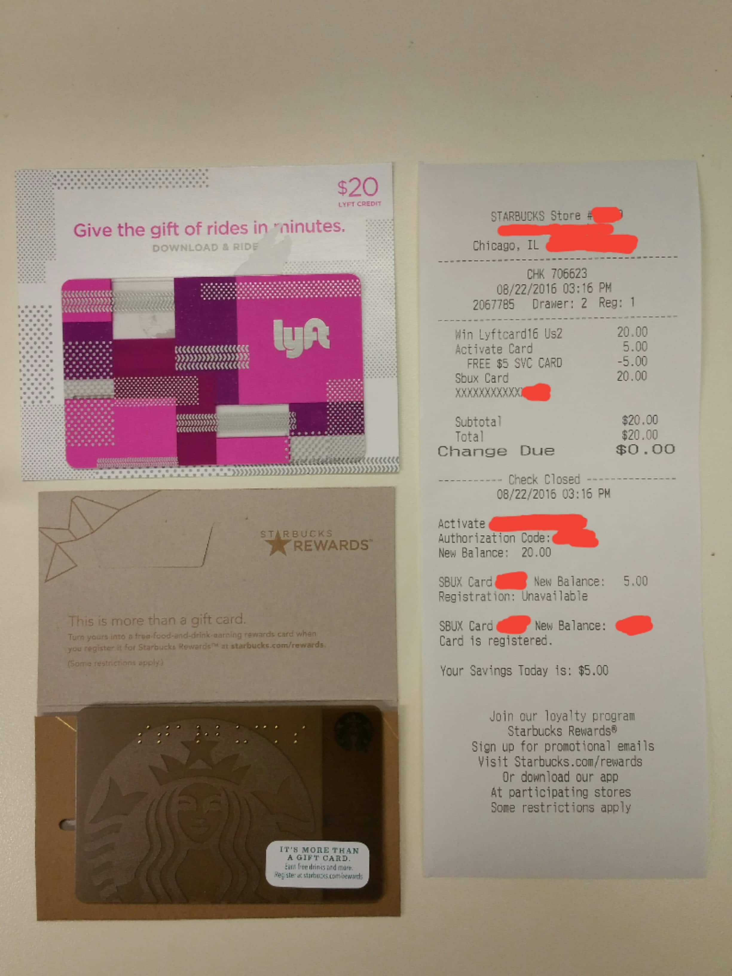 Buy $20 Lyft Gift Card, get $5 Starbucks Gift Card - buy at ...