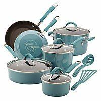 Kohls Deal: Rachael Ray Cucina agave blue 12 pc nonstick cookware set $73.99 AR + $20 Kohls cash