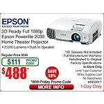 Refurbished  Epson 2030 Full 1080P 3D Projector - $488 with promo code at Frys- FS or In Store Pick up