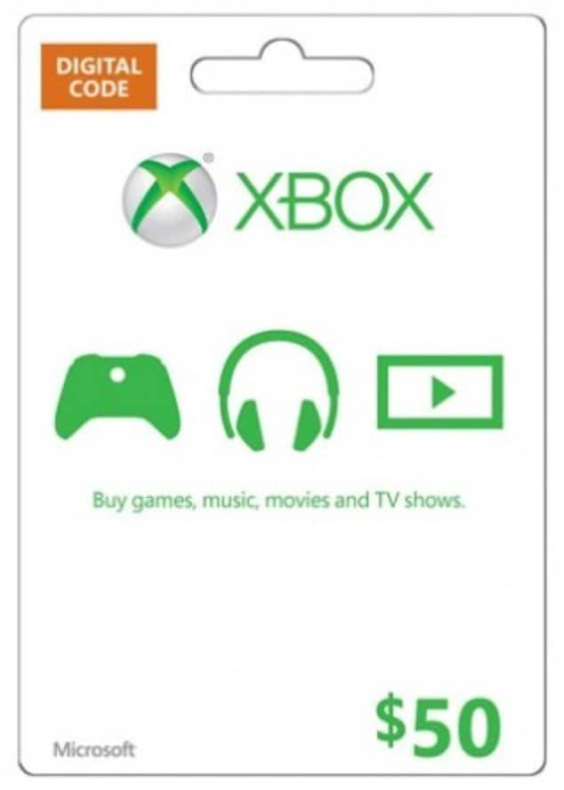 $50 Microsoft Gift Card (Xbox One/360) Digital Delivery - $44.99 ...