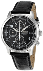 Seiko Chronographs on Leather strap & cream or black dials: SNDC31 $99, SNDC33 $99