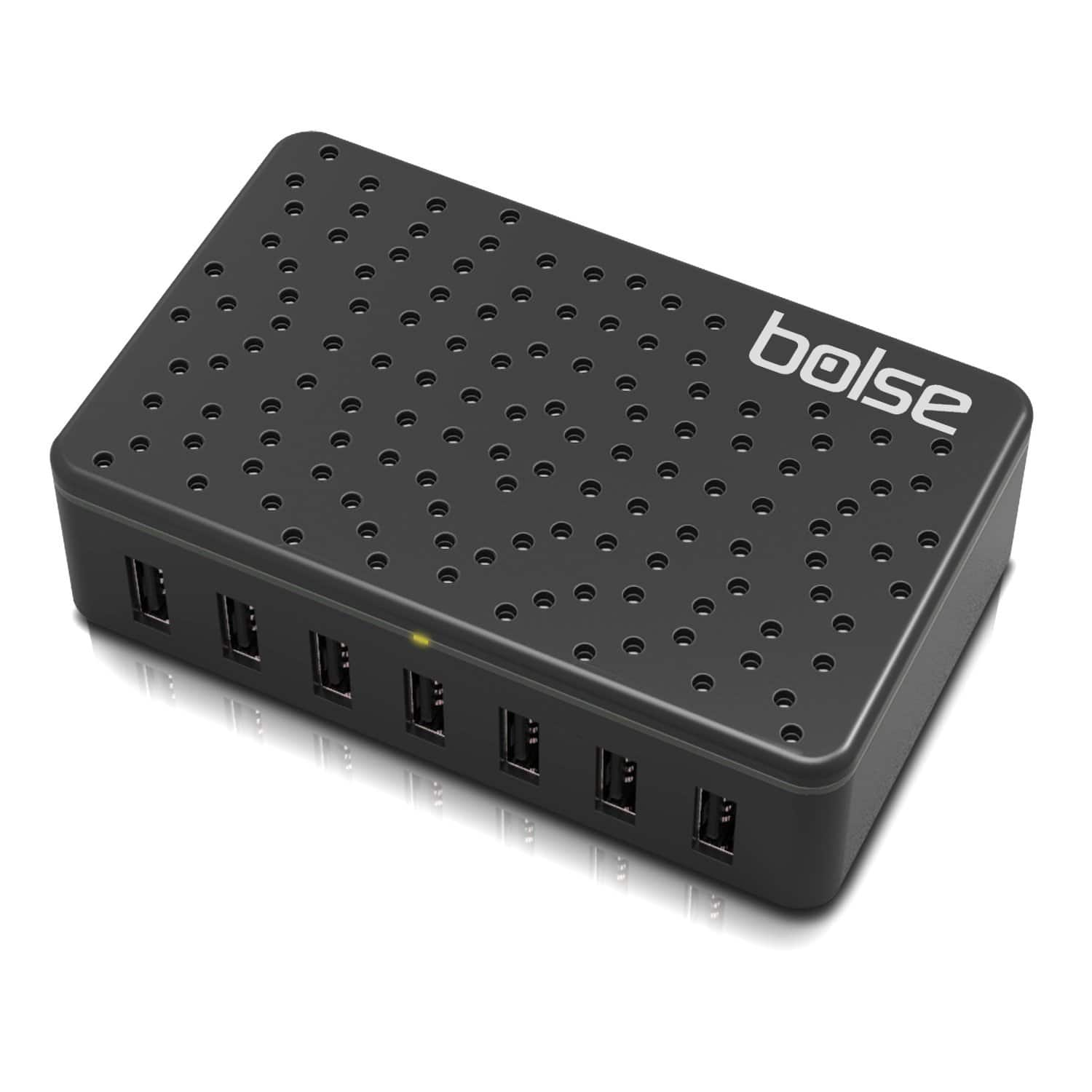 Bolse Black 5V/12A (60 Watts) 7-Port USB Wall/Desktop Charger with SmartIC Technology & Detachable 5 Ft. Power Cord (LC128) - $32.99 AC + Free Shipping @ Amazon.com
