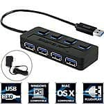 4-Port Sabrent t USB 3.0 Hub w/ LED, Power Switch and 2.5A Power Adapter $15 @ Amazon