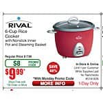 Rival 6-Cup Rice Cooker $9.99 @Fry's  (today only in-store)  YMMV