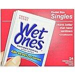 Wet Ones Antibacterial Hand Wipes Singles, Fresh Scent, 24-Count (Pack of 5) $7.46 (or lower) + free ship with S&S @Amazon