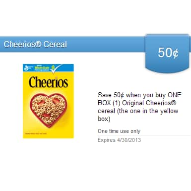 savingstar.com Deal: Save 50¢ when you buy ONE BOX (1) Original Cheerios