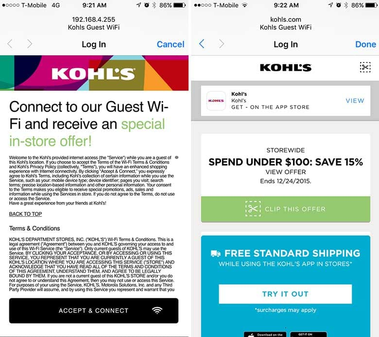 kohls coupons wifi