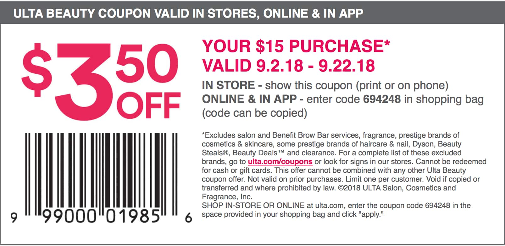 Ulta Promo Codes For September 2018