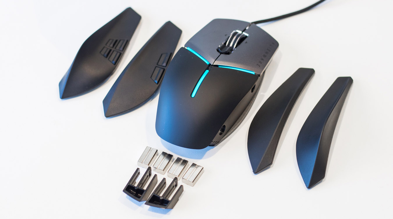 1a918f597de Customization is a key theme of the new Alienware Elite Gaming Mouse.  Featuring four interchangeable panels, as well as an extendable palm rest,  ...