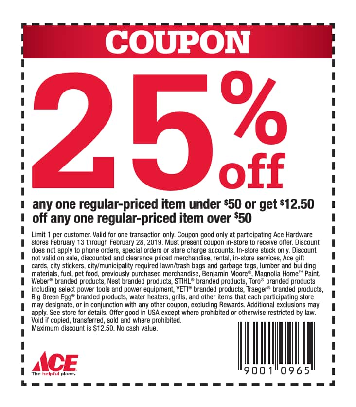 graphic relating to Ace Hardware Printable Coupons named Conserve 25% upon Merchandise Beneath $50 Throughout this Ace Components Sale
