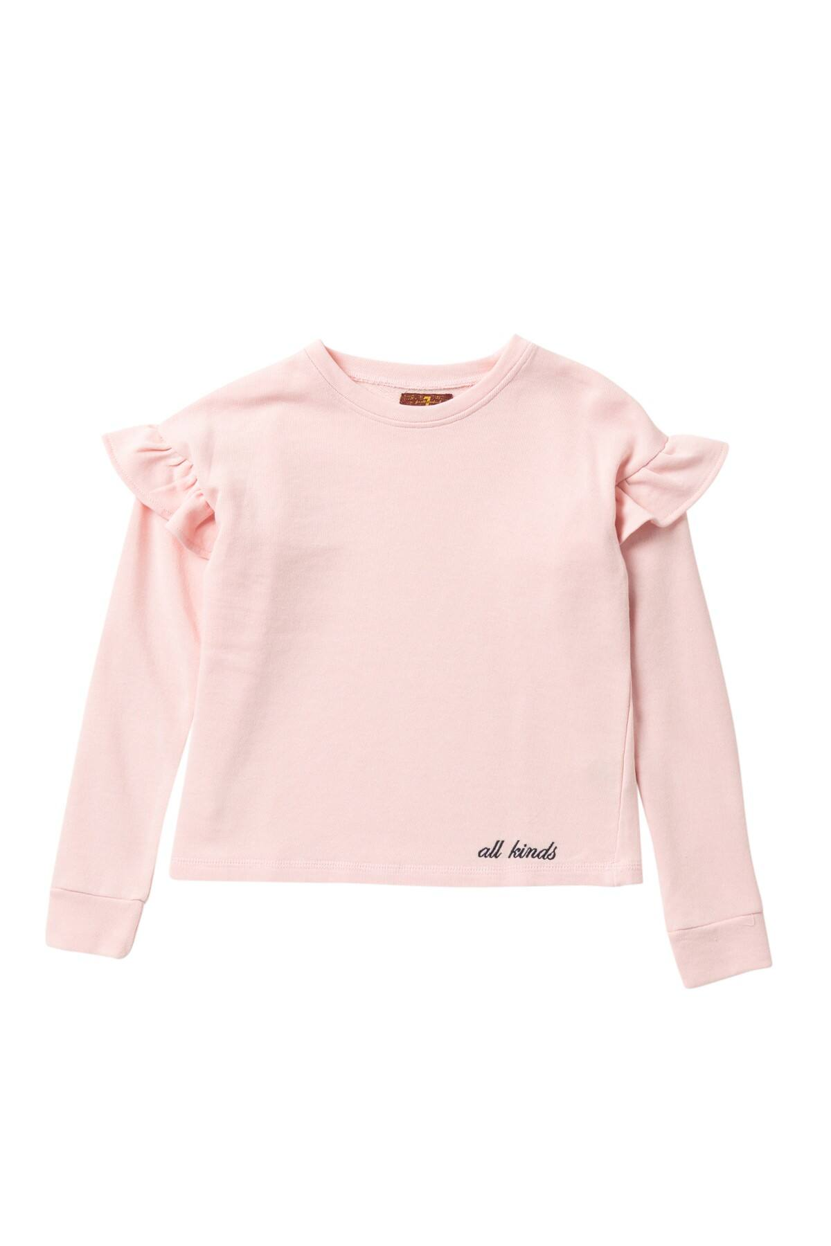 7 For All Mankind Pink Ruffle Sweatshirt Big Girls