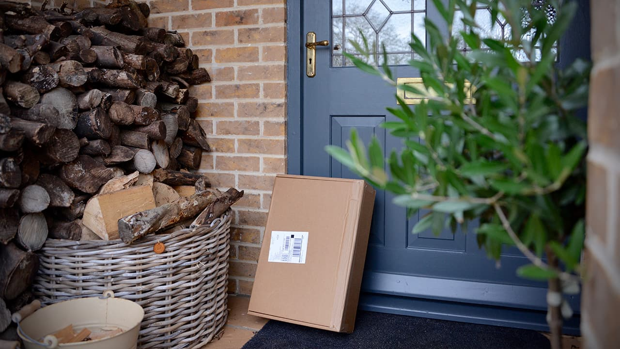 a delivery package sits by the front door